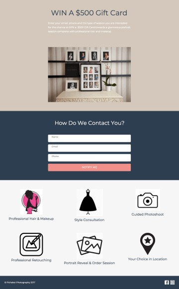 Landing Page for Photographers