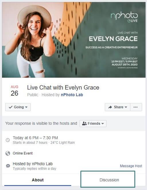 Facebook Veranstaltung für Mini-Sessions