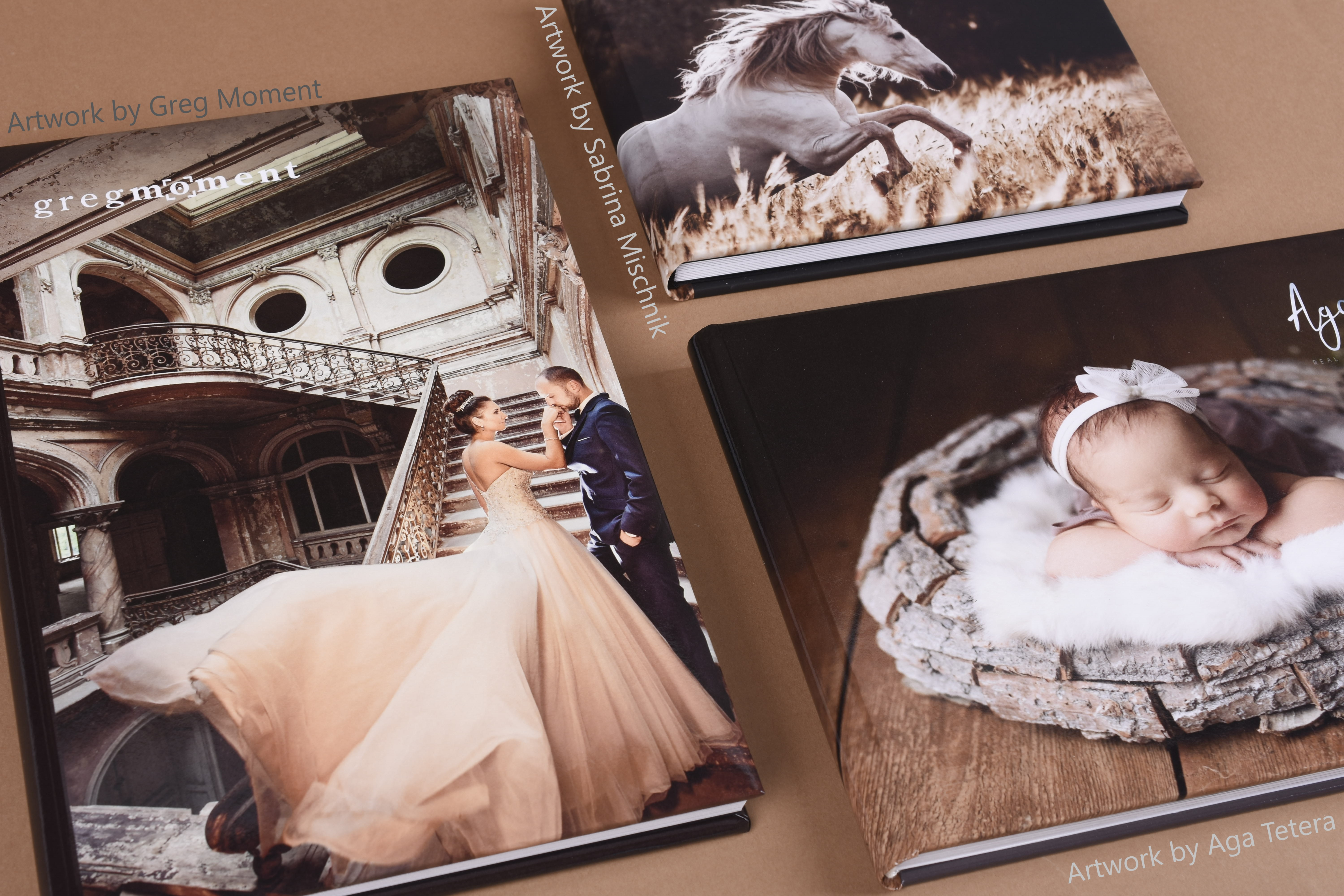 Artwork by Greg Moment, Sabrina Mischnik, and Aga Tetera; our Creative Photo Albums are ideal for that personalized product.