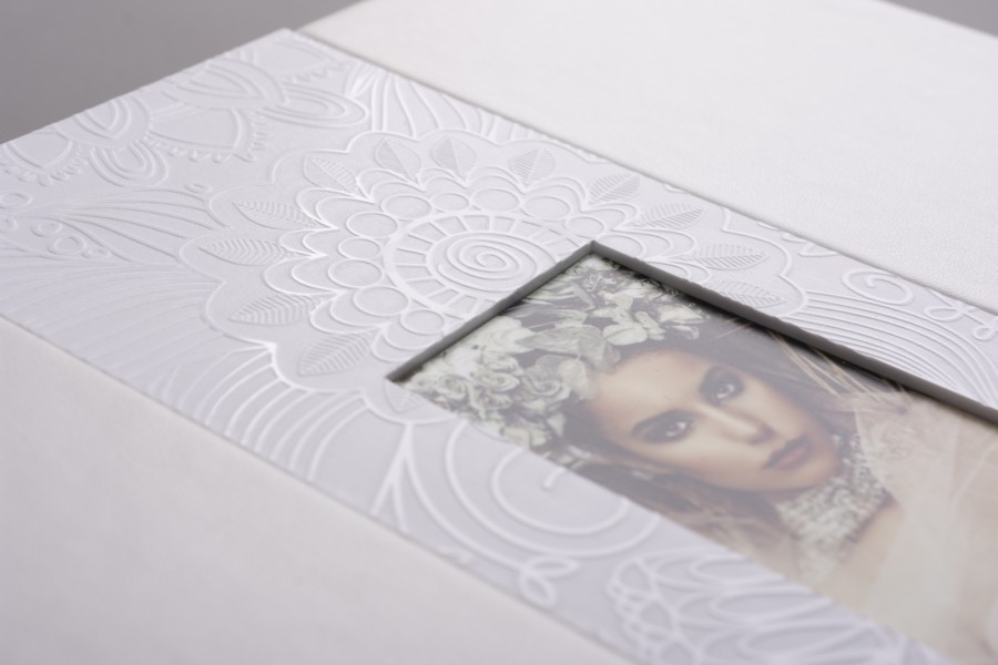 Professional Wedding album with cut-out window