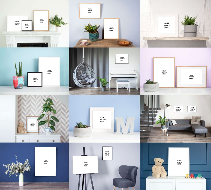 nPhoto Wall Decor Mockups Collage