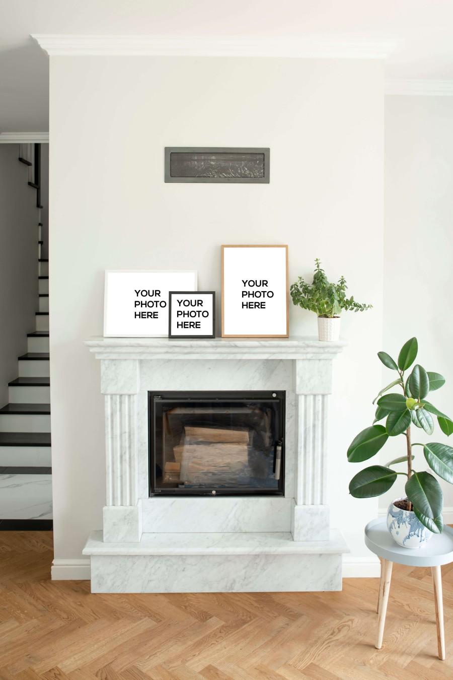 Wall Decor Mockups on Full Fireplace set