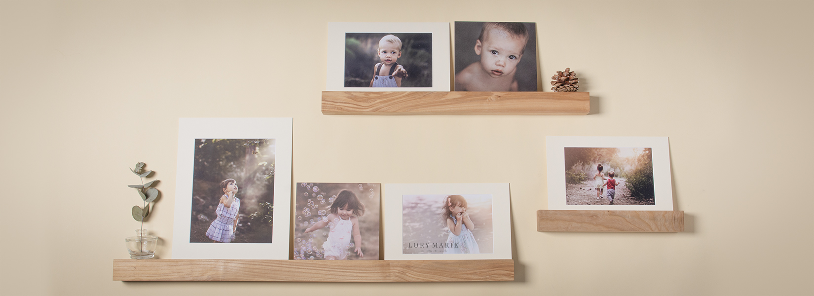 Wood ledge displays for professional photographers