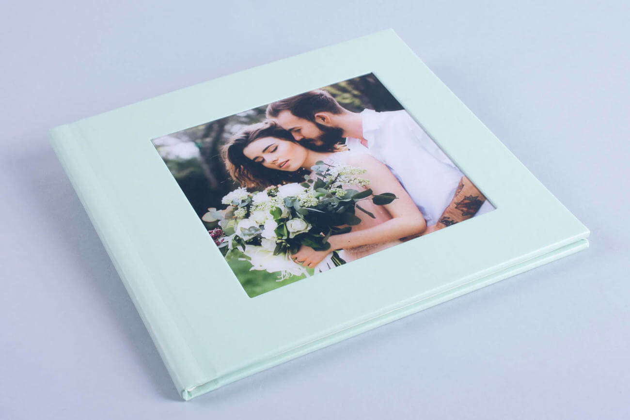 Wedding Photo Album Book with cut out window cover