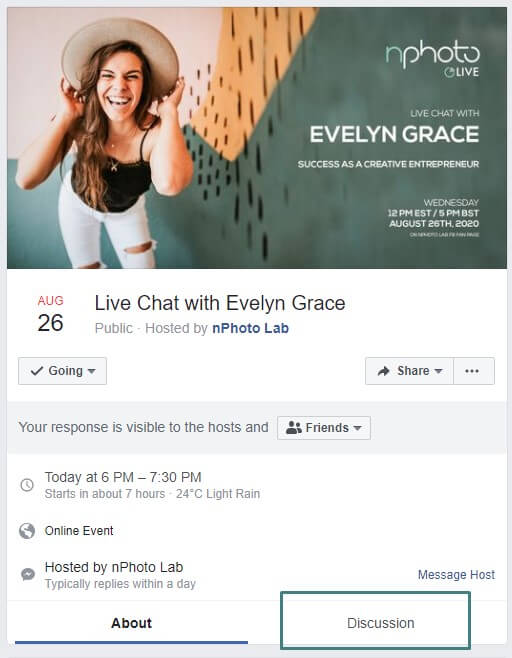 Facebook Event for Mini-Sessions