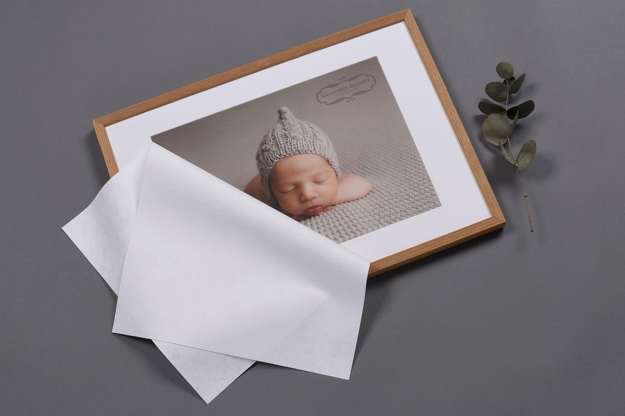Framed Newborn Photo in Wooden Frame