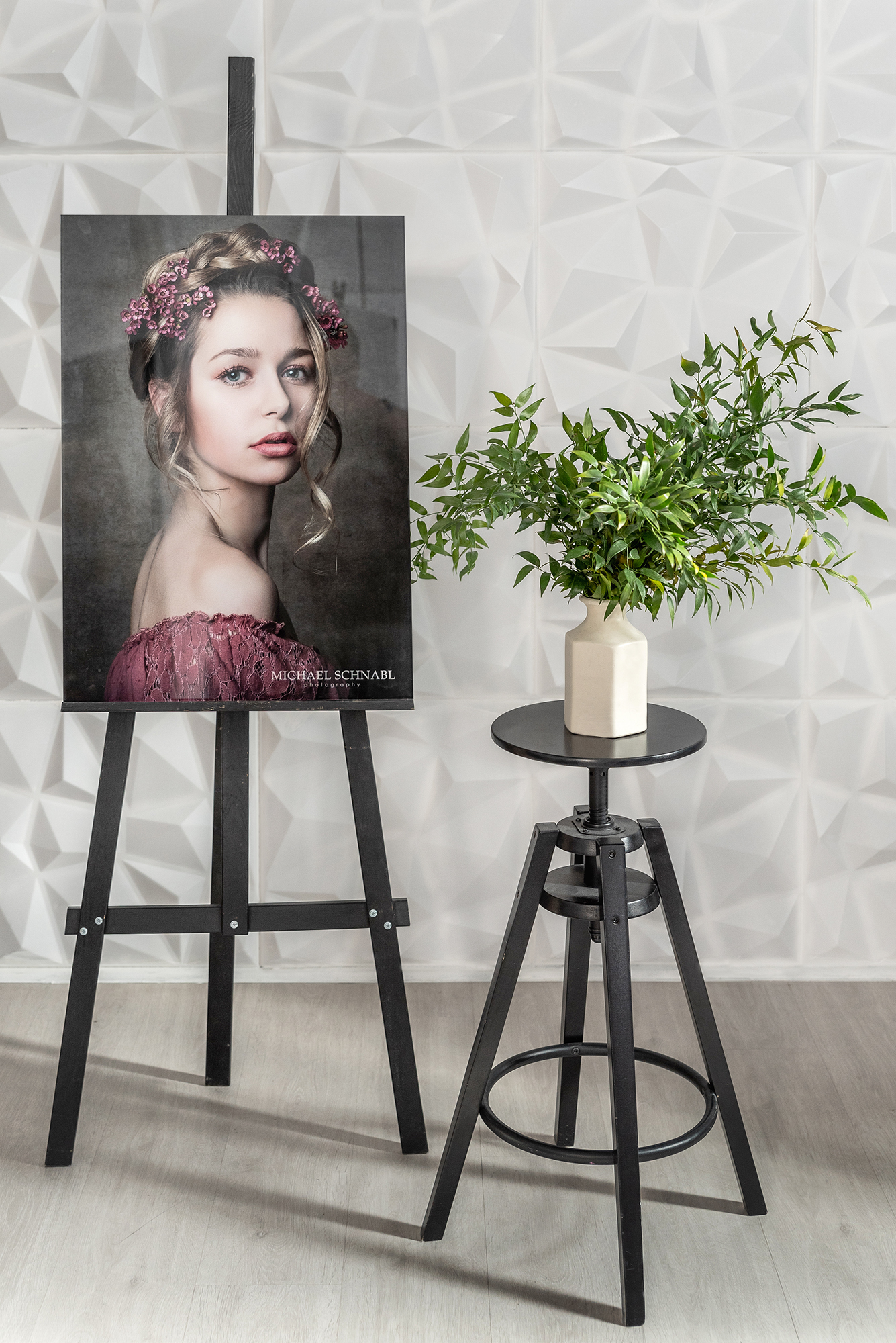 professional portrait in an acrylic print