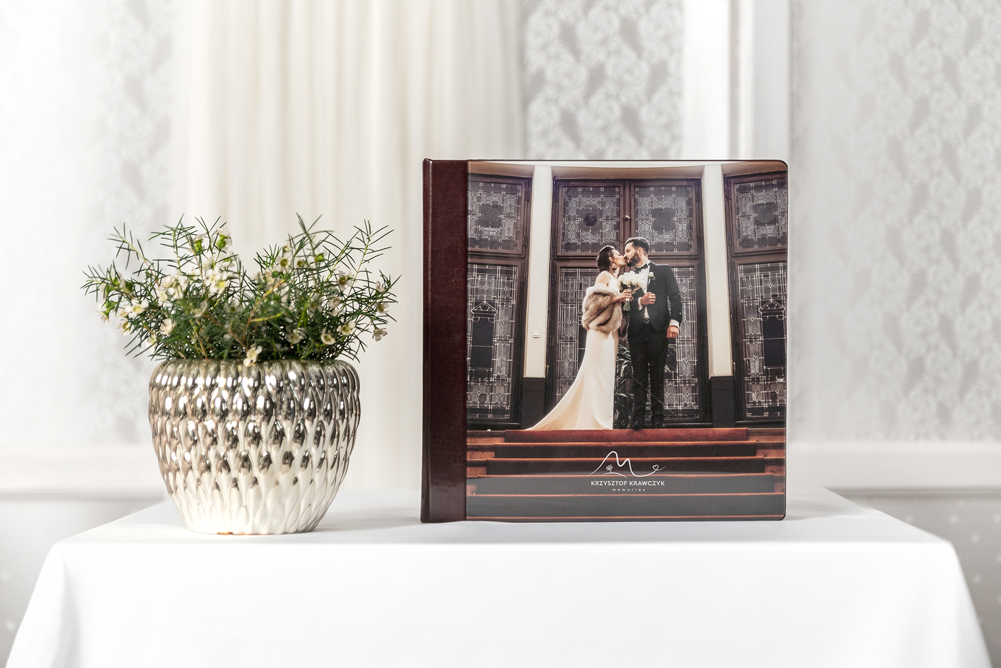 professional wedding album with a full acrylic cover