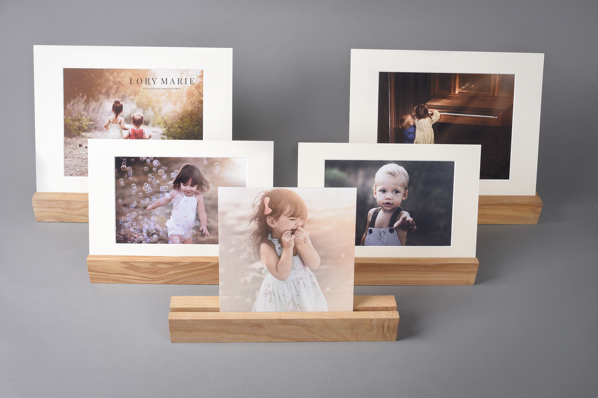 Professional photography wooden ledge display.